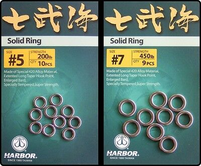 Harbor Heavy Duty Solid Rings - Jig Jigging Lure Fishing Size 5 or 7
