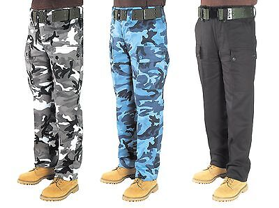 Heavy Duty Army Combat Cotton Cargo Pants Black Urban Sky Camo 2-5