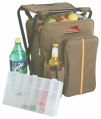 Fishing Stool Backpack Insulated Bottle Cooler Compartment Camping Picnic Beach