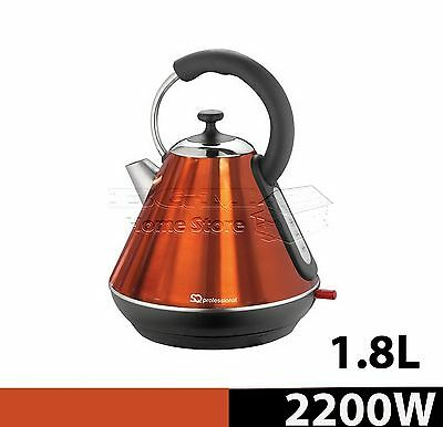 1.8l Litre Cordless Electric Kettle Fast Boil Jug Washable Filter 2200w Orange