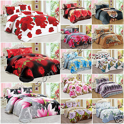 3D Effect Duvet Cover Set Bedding Set Pillow Cases Floral Flower Red Half Set