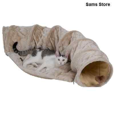 Cat Tunnel with Cushion Plush Material Dangling Toys Nap Play Rest Cream 135cm