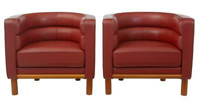 PAIR OF 1970's LEATHER CLUB LOUNGE ARMCHAIRS