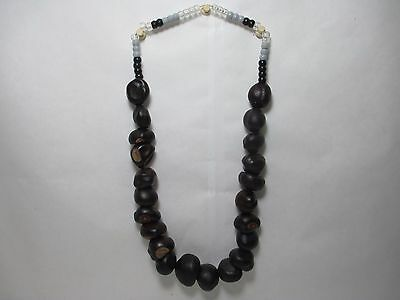Vintage Chunky Real Chestnut Necklace Handmade Hippie Mardi Gras Bead Jewelry
