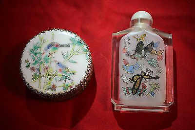 Antique Chinese Snuff Bottle and Silver Can with Porcelain Top