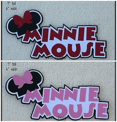 Die Cut Disney MINNIE MOUSE Title Vacation Scrapbook Paper Piecing Mickey CKS