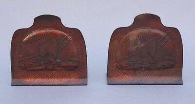 Pair 1920s Hammered Copper Bookends w Galleon Ship Antique Library (9082)