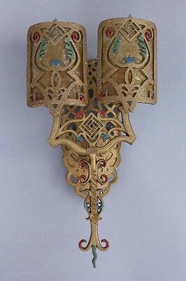 1 of 3 1920s Double Light Sconce w Mica Fits Spanish Revival StoryBook (9089)