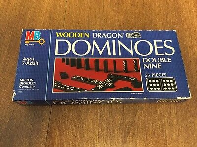 Vintage 1983 Milton Bradley Wooden Dragon Dominoes Double Nine 52 Pieces w/ box