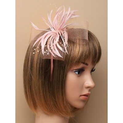 Pink 15cm Looped Net & Bead Detail Feather Fascinator on a hair band Headband