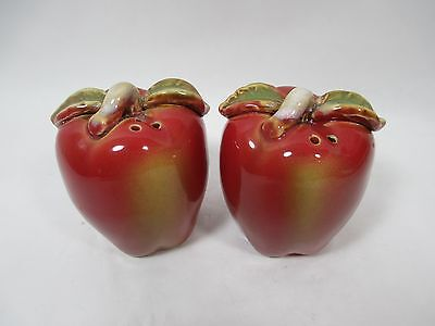 Pair Vintage Ceramic Red Apples Salt Pepper Shakers Country Fruit Mid Century