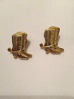 2 Pair Embossed Gold Tone Cowboy Boots 1 Spur Showing Lapel Hat Clutch Back Pin