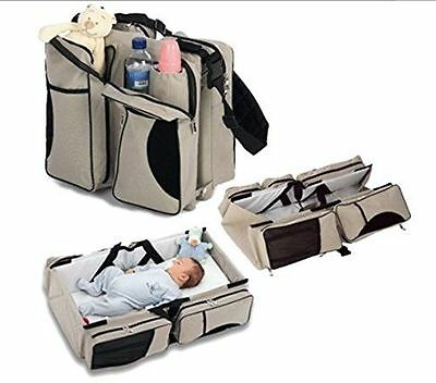 3 in 1 - Diaper Bag - Travel Bassinet - Change Station Cream & Red Mulit-purpos