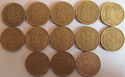 South Africa set of different 13 x 50 cents (1991-97,2003-08) XF