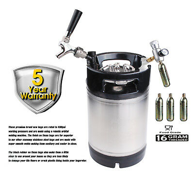 PREMIUM BRAND NEW 9.5 L BALL LOCK KEG + tap + CO2 CHARGER PARTY