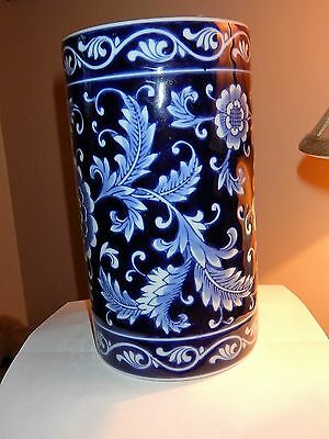 Pier 1 Cutlery Container Jar Navy Blue & White Floral Design