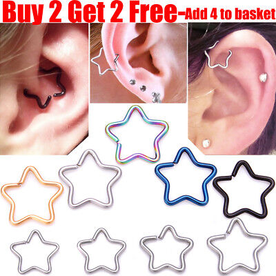 Daith Star Surgical Steel Ring Hoop For Ear Helix Cartilage Tragus Body Piercing