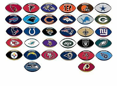 NFL Licensed Decal Stickers Football Shape Complete Set of all 32 Teams