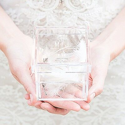 Personalized Engraved Jewelry Storage Box Engagement Wedding Earring Ring Holder