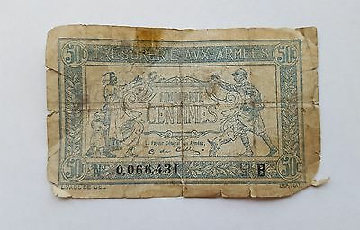 Tresorerie aux armees 50 centimes bank note B WWI  0066431 French Paper Money