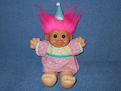 "Russ Happy Birthday Girl 12"" Plush Troll Doll W Pink Hair Blue Eyes Hat & Dress"