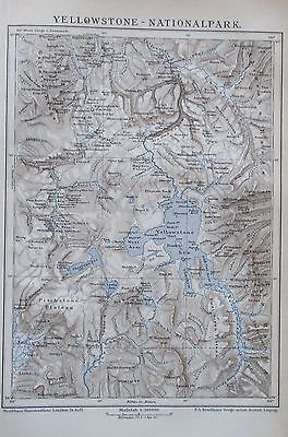 YELLOWSTONE NATIONALPARK USA 1895 alte Landkarte Karte Antique Map Lithographie