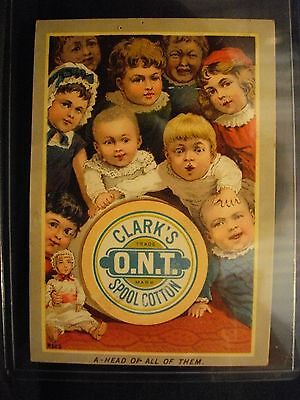 Vintage CLARK'S O.N.T. SPOOL COTTON advertisment card VICTORIAN