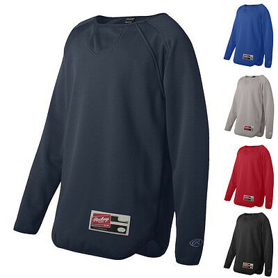 Rawlings Kids Boys Shirts Youth Long Sleeve Flatback Mesh Fleece Pullover 6705