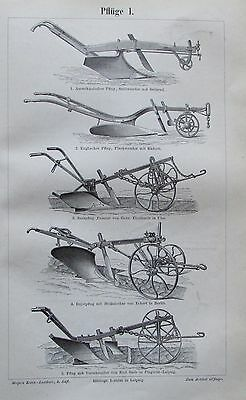 PFLÜGE I. II. 1896 Original Alter Druck Antique Print Lithographie