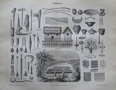 PFAHLBAUTEN 1896 Original Alter Druck Antique Print Lithographie