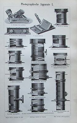 PHOTOGRAPHISCHE APPARATE 1896 Original Alter Druck Antique Print Lithographie