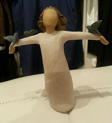 Willow Tree Angels - Happiness Figurine With Freedom Birds - Brand New