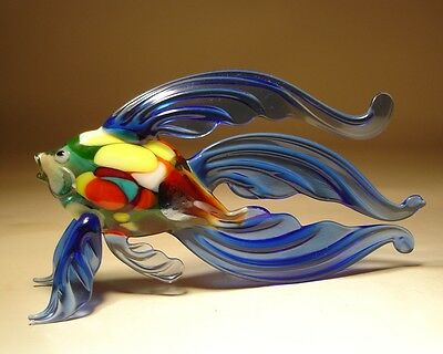 "Blown Glass Figurine  ""Murano"" Art Blue Betta FISH with Colorful Body"