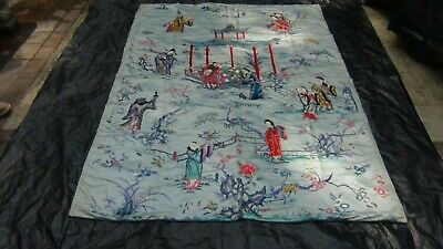 ANTIQUE 19c CHINESE TEMPLE SCENE HANGING SILK EMBROIDERY W/GODS,QUAN-YIN,SCHOLAR