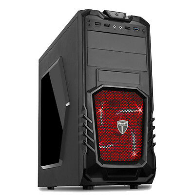 AvP STORM 27 BLACK ATX GAMING TOWER CASE USB 3.0 RED LED FAN FRONT AUDIO & MIC