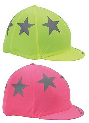 Shires EQUI-FLECTOR Safety Reflective High Viz Hat Cover 852- Yellow, Pink,Stars