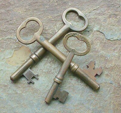 3 Antique  1870's  Bronze Mortise Lock Skeleton Keys  Antique Door Keys