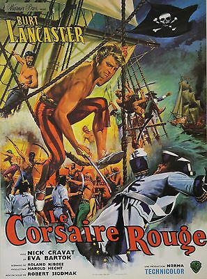 """LE CORSAIRE ROUGE (THE CRIMSON PIRATE)"" Affiche entoilée (Burt LANCASTER)"