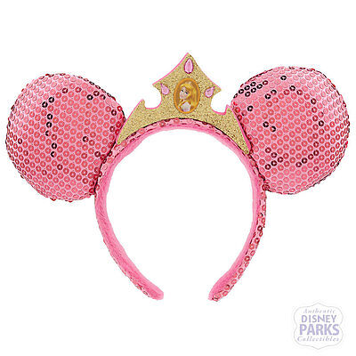 Disney Parks Aurora Ear Headband Pink Sequined Minnie Mouse Ears w/ Crown