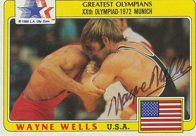 WAYNE WELLS   Olympiasieger 1972 Ringen signed Trading Card 6x9