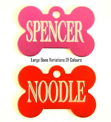 Engraved Personalised Pet Id Dog Puppy  Collar Name Bone Tags Post Free!