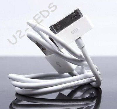 (LOT 2X) USB 30-Pin Charger Data Cable Cord Apple iPhone 4S 3GS iPad iPod Touch