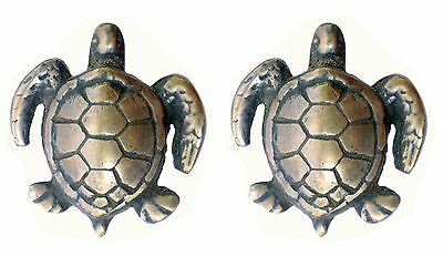 Solid Brass Sea Turtle Drawer Cabinet Door Knob 2 Pack