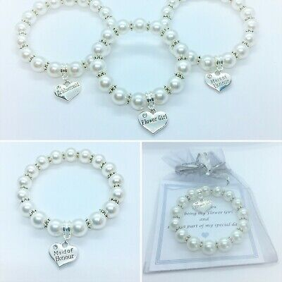 Bridesmaid, Flower girl, Maid of Honour Bracelet & Heart, Favour Gift Thank you