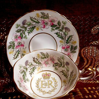1953 Paragon #a1440 Coronation Teacup And Saucer Set Queen Elizabeth Ii