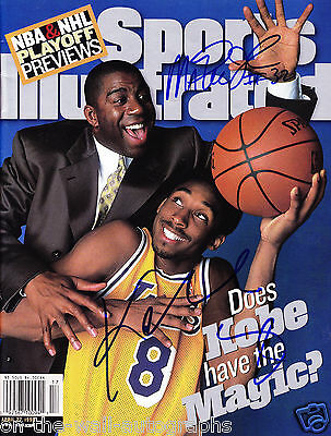 Magic Johnson Kobe Bryant Dual Hand Signed Sports Illustrated! With Proof + Coa!