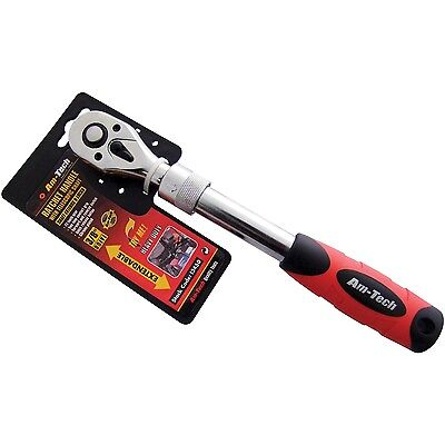 """3/8"""" Telescopic Ratchet Handle 72 Tooth Gear Extends to 34cm Quick Release"""
