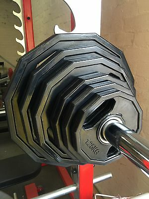 Rubber Hexagonal Olympic Weight Plates. Easy Grip 2 Handles.