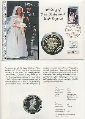 NUMISBRIEF - Turks and Caicos - 1 Crown 1986 Silber PP / Proof - Royal Wedding