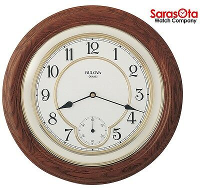 "Bulova C4596 Solid Oak Case Floating Dial Round 14"" Quartz Wall Clock"